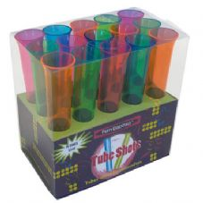 Plastic Neon Tube Shot Glasses in Pink 15Pk